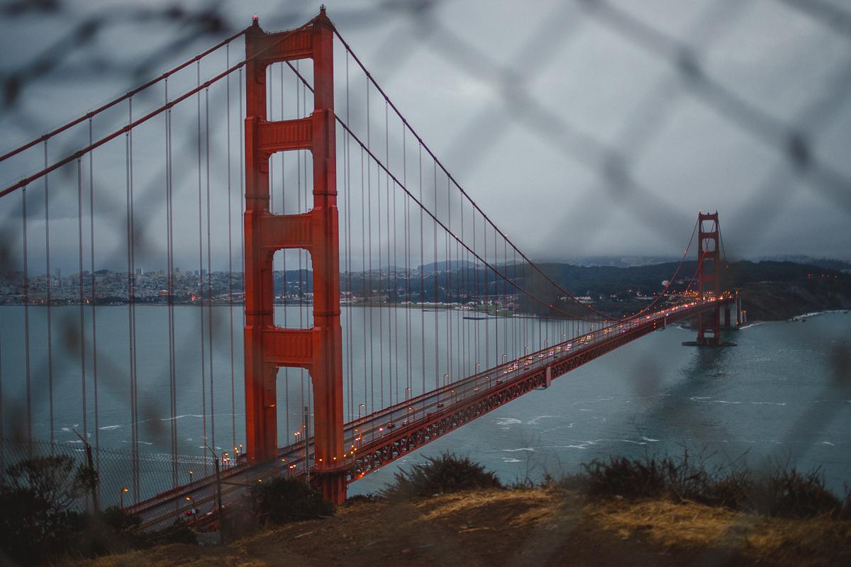 Snapshots från en morgon vid Golden Gate-bron, San Francisco